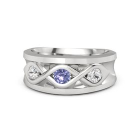 Men's Round Tanzanite Sterling Silver Ring with White Sapphire