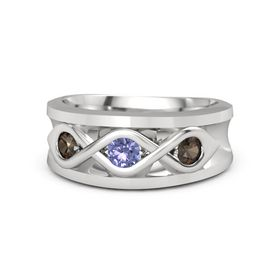 Men's Round Tanzanite Sterling Silver Ring with Smoky Quartz
