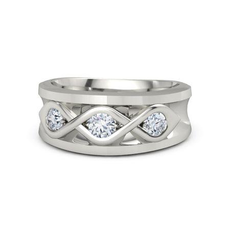 Men's Triple Twist Ring - Round Moissanite Platinum Ring with Diamond