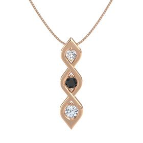 Round Black Diamond 14K Rose Gold Pendant with White Sapphire and Diamond