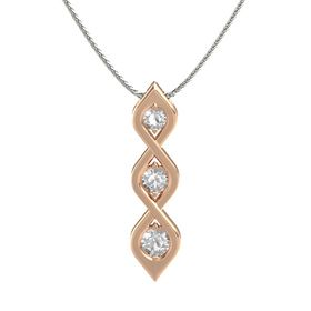 Round Rock Crystal 14K Rose Gold Pendant with Rock Crystal