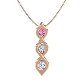 Round Diamond 14K Rose Gold Pendant with Pink Sapphire and Diamond