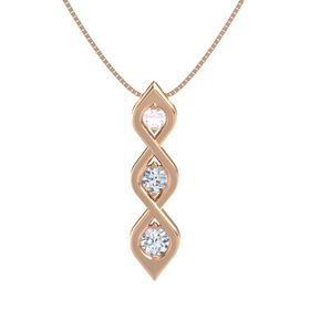 Round Diamond 14K Rose Gold Pendant with Rose Quartz and Diamond