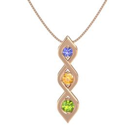 Round Citrine 14K Rose Gold Necklace with Tanzanite & Peridot