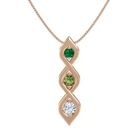 Round Green Tourmaline 14K Rose Gold Pendant with Emerald and Diamond
