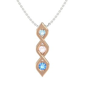 Round Rose Quartz 14K Rose Gold Pendant with Aquamarine and Blue Topaz