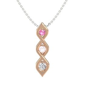 Round Rose Quartz 14K Rose Gold Pendant with Pink Tourmaline and White Sapphire