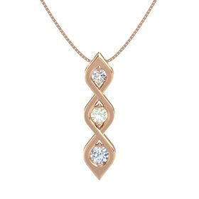 Round Green Amethyst 14K Rose Gold Pendant with White Sapphire and Diamond