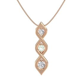 Round Green Amethyst 14K Rose Gold Pendant with White Sapphire