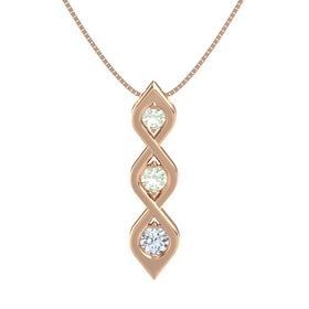 Round Green Amethyst 14K Rose Gold Pendant with Green Amethyst and Diamond