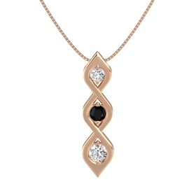 Round Black Onyx 14K Rose Gold Pendant with White Sapphire