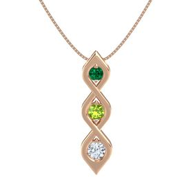 Round Peridot 14K Rose Gold Pendant with Emerald and Diamond