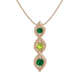 Round Peridot 14K Rose Gold Pendant with Emerald