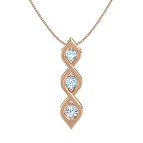 Round Aquamarine 14K Rose Gold Pendant with Aquamarine and Diamond