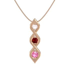 Round Ruby 14K Rose Gold Pendant with Rose Quartz and Pink Tourmaline