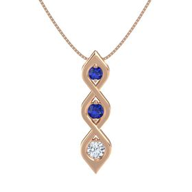 Round Blue Sapphire 14K Rose Gold Pendant with Blue Sapphire and Diamond