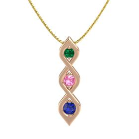 Round Pink Tourmaline 14K Rose Gold Pendant with Emerald and Blue Sapphire