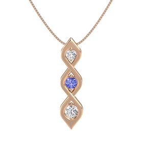 Round Tanzanite 14K Rose Gold Pendant with White Sapphire