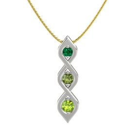 Round Green Tourmaline 14K White Gold Pendant with Emerald and Peridot