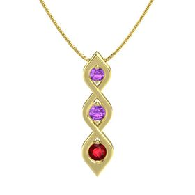 Round Amethyst 14K Yellow Gold Pendant with Amethyst and Ruby