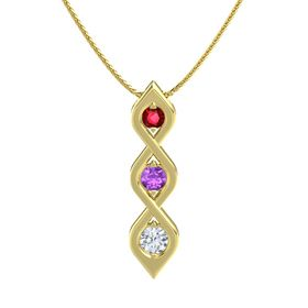 Round Amethyst 14K Yellow Gold Pendant with Ruby and Diamond