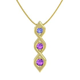 Round Amethyst 14K Yellow Gold Pendant with Tanzanite and Amethyst