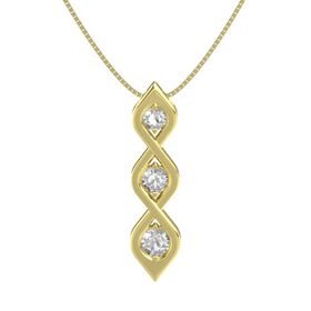 Round Rock Crystal 14K Yellow Gold Pendant with Rock Crystal