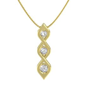 Round Rock Crystal 14K Yellow Gold Necklace with Rock Crystal