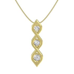 Round Rock Crystal 14K Yellow Gold Pendant with White Sapphire and Rock Crystal