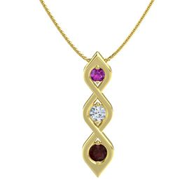 Round Diamond 14K Yellow Gold Pendant with Rhodolite Garnet and Red Garnet