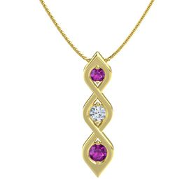 Round Diamond 14K Yellow Gold Pendant with Rhodolite Garnet