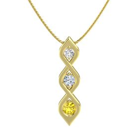 Round Diamond 14K Yellow Gold Pendant with White Sapphire and Yellow Sapphire