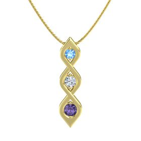 Round Diamond 14K Yellow Gold Pendant with Blue Topaz and Iolite