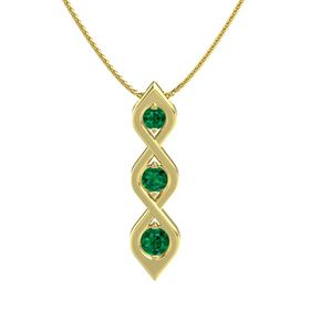 Round Emerald 14K Yellow Gold Necklace with Emerald