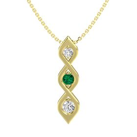 Round Emerald 14K Yellow Gold Pendant with White Sapphire