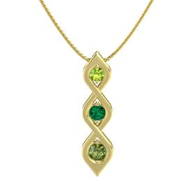Round Emerald 14K Yellow Gold Necklace with Peridot & Green Tourmaline