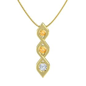 Round Citrine 14K Yellow Gold Pendant with Citrine and Diamond