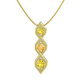 Round Citrine 14K Yellow Gold Pendant with Yellow Sapphire