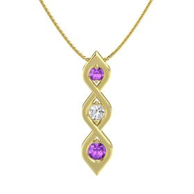 Round White Sapphire 14K Yellow Gold Necklace with Amethyst