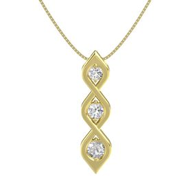 Round White Sapphire 14K Yellow Gold Pendant with White Sapphire and Rock Crystal