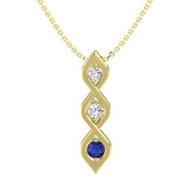 Round White Sapphire 14K Yellow Gold Necklace with White Sapphire & Sapphire