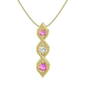Round White Sapphire 14K Yellow Gold Pendant with Pink Sapphire