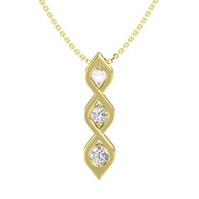 Round White Sapphire 14K Yellow Gold Pendant with Rose Quartz and White Sapphire
