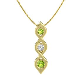 Round White Sapphire 14K Yellow Gold Pendant with Peridot