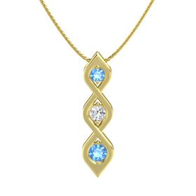 Round White Sapphire 14K Yellow Gold Necklace with Blue Topaz
