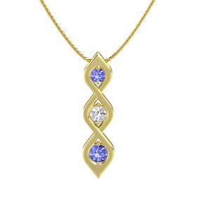 Round White Sapphire 14K Yellow Gold Necklace with Tanzanite