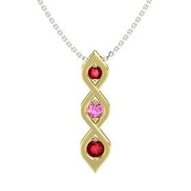 Round Pink Sapphire 14K Yellow Gold Pendant with Ruby