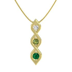Round Green Tourmaline 14K Yellow Gold Necklace with White Sapphire & Emerald