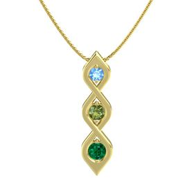 Round Green Tourmaline 14K Yellow Gold Necklace with Blue Topaz & Emerald