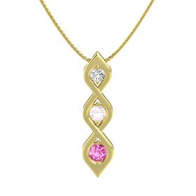 Round Rose Quartz 14K Yellow Gold Necklace with White Sapphire & Pink Sapphire